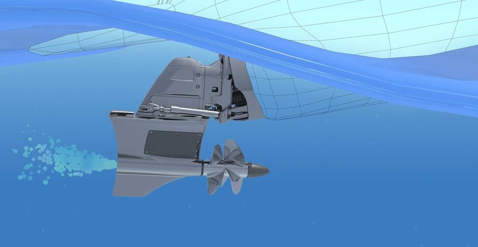 Forward Drive's Forward Facing propellers and trimmable drive provide better performance than a v-drive