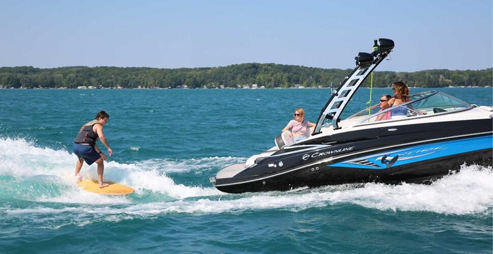 Wakesurfing behind a Volvo Penta powered Forward Drive
